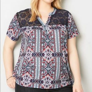 Avenue LACE YOKE MEDALLION STRIPE TOP